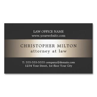 Cartão De Visitas Magnético Advogado cinzento elegante da listra do ouro do