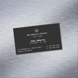 Cartão De Visitas Magnético Advogado elegante na empresa de advocacia da lei |