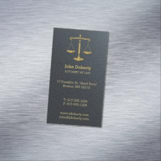 Cartão De Visitas Magnético Advogado em escalas douradas clássicas da lei | de