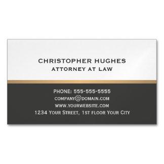 Cartão De Visitas Magnético Advogado escuro elegante simples do ouro do falso