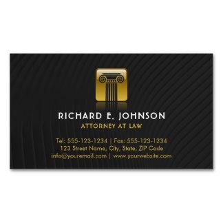 Cartão De Visitas Magnético Advogado liso preto da coluna de justiça do ouro