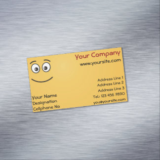 Cartão De Visitas Magnético Cara de sorriso com olhos abertos