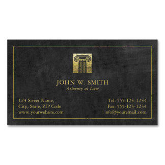 Cartão De Visitas Magnético Coluna do advogado do advogado do ouro de justiça