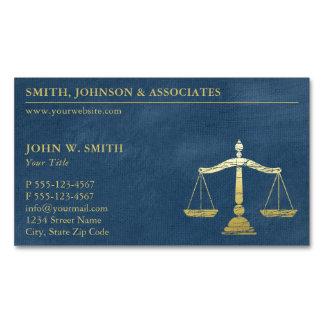 Cartão De Visitas Magnético Escalas azuis luxuosas do advogado do olhar do