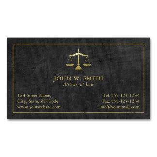 Cartão De Visitas Magnético Escalas do advogado do advogado do ouro de justiça