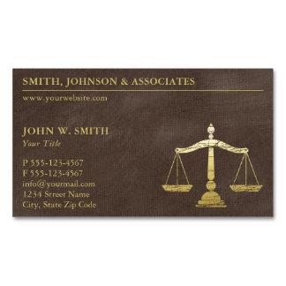 Cartão De Visitas Magnético Escalas luxuosas do advogado de Brown do olhar do