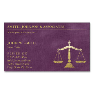 Cartão De Visitas Magnético Escalas roxas luxuosas do advogado do olhar do