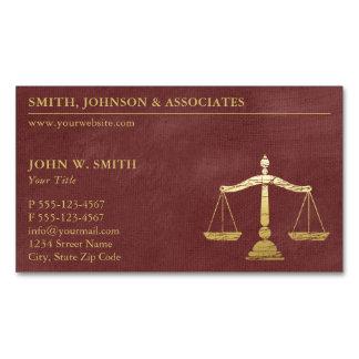 Cartão De Visitas Magnético Escalas vermelhas luxuosas do advogado do ouro de