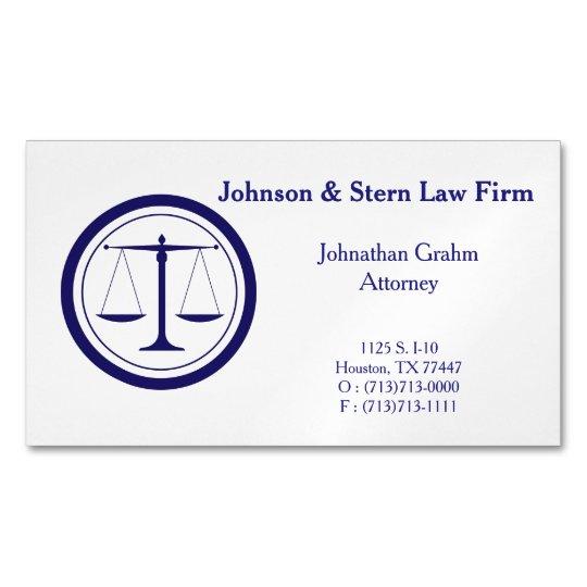 Cartão De Visitas Magnético Ímã do cartão de visita do advogado dos azuis
