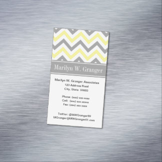 Cartão De Visitas Magnético Monograma conhecido cinzento cinzento amarelo do