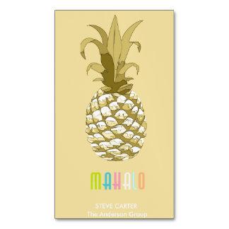 Cartão De Visitas Magnético Ouro Mahalo ID239 do abacaxi