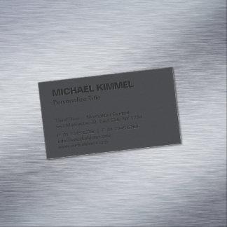 Cartão De Visitas Magnético Preto corajoso minimalista moderno