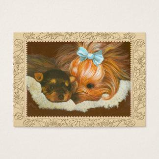 Cartão De Visitas Mama & filhote de cachorro de Yorkie