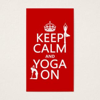 Cartão De Visitas Mantenha a calma e a ioga em (personalize cores)
