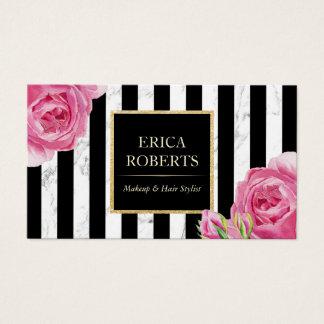 Cartão De Visitas Maquilhador de mármore das listras modernas