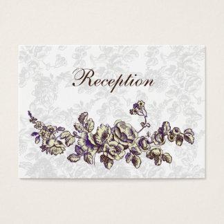 Cartão De Visitas Marfim e casamento floral do vintage roxo