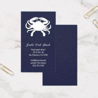 Cartão De Visitas Marinho e restaurante branco do marisco da