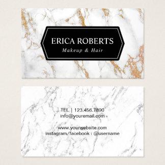 Cartão De Visitas Mármore branco na moda do cabeleireiro do