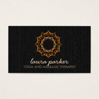 Cartão De Visitas Massagem dourada da saúde da ioga da mandala da