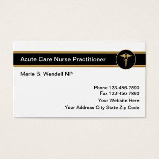 Cartão De Visitas Médico agudo da enfermeira do cuidado