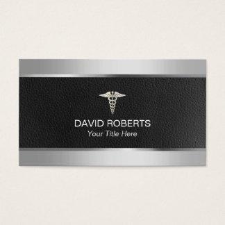 Cartão De Visitas Médico metal & couro profissionais