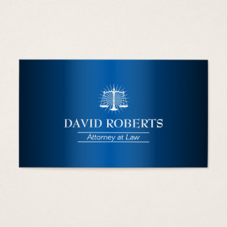 Cartão De Visitas Metal azul elegante do advogado do advogado