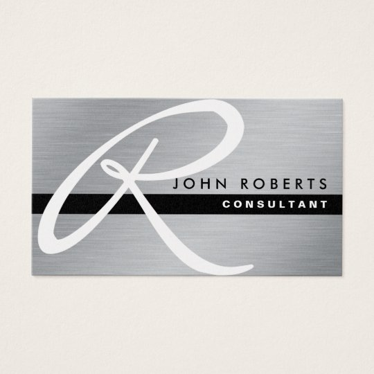 Cartão De Visitas Metal elegante profissional da prata do monograma