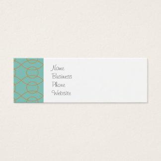 Cartão De Visitas Mini A laranja azul moderna elegante circunda listras