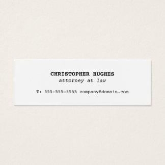 Cartão De Visitas Mini Advogado branco elegante simples minimalista na