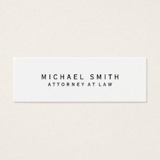 Cartão De Visitas Mini Advogado em minimalista simples branco da lei