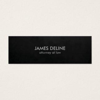 Cartão De Visitas Mini Advogado liso minimalista do preto da textura