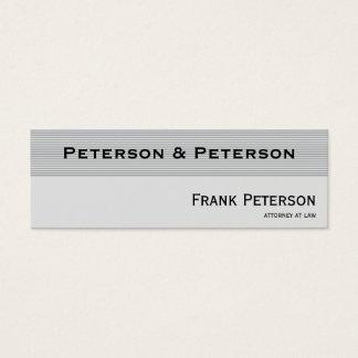 Cartão De Visitas Mini Advogado listrado elegante Textured minimalista