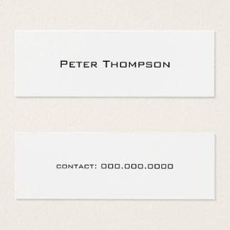 Cartão De Visitas Mini apenas conhecido minimalista com branco do