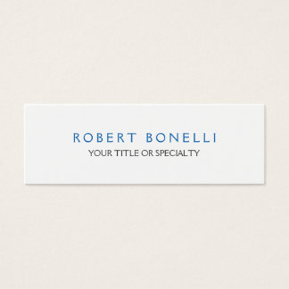 Cartão De Visitas Mini Azul branco liso original magro