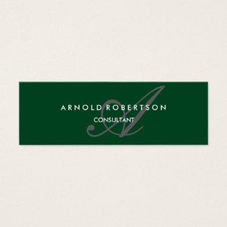 Cartão De Visitas Mini Cinza na moda de Forest Green do monograma magro