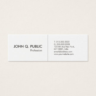 Cartão De Visitas Mini Elegante simples profissional branco minimalista