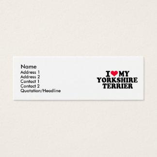 Cartão De Visitas Mini Eu amo meu yorkshire terrier