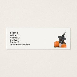 Cartão De Visitas Mini Filhote de cachorro do pugilista do Dia das Bruxas