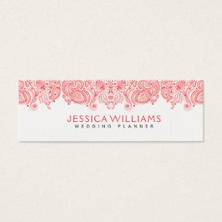 Cartão De Visitas Mini Laço floral vermelho coral de Paisley