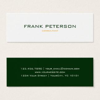 Cartão De Visitas Mini Laranja verde escuro inversa Textured minimalista