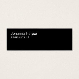 Cartão De Visitas Mini Magro magro do consultante moderno preto liso