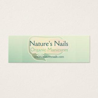 Cartão De Visitas Mini Manicure orgânico das unhas da natureza