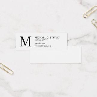 Cartão De Visitas Mini Monograma elegante preto e branco