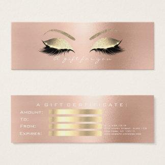 Cartão De Visitas Mini O rosa PinkGold branco do certificado de presente