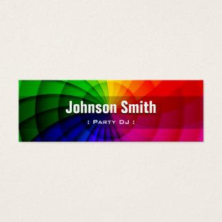 Cartão De Visitas Mini Partido DJ - Cores radiais do arco-íris