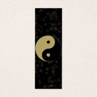 Cartão De Visitas Mini preto e yin yang do ouro
