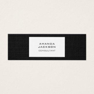 Cartão De Visitas Mini Preto minimalista na moda liso moderno & branco