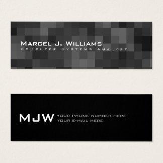 Cartão De Visitas Mini preto moderno minimalista do profissional dos