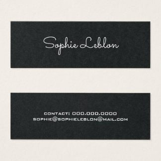 Cartão De Visitas Mini preto superior simples elegante minimalista