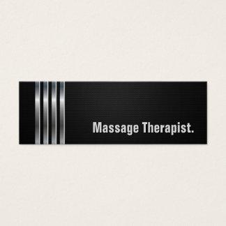 Cartão De Visitas Mini Terapeuta da massagem - listras de prata pretas